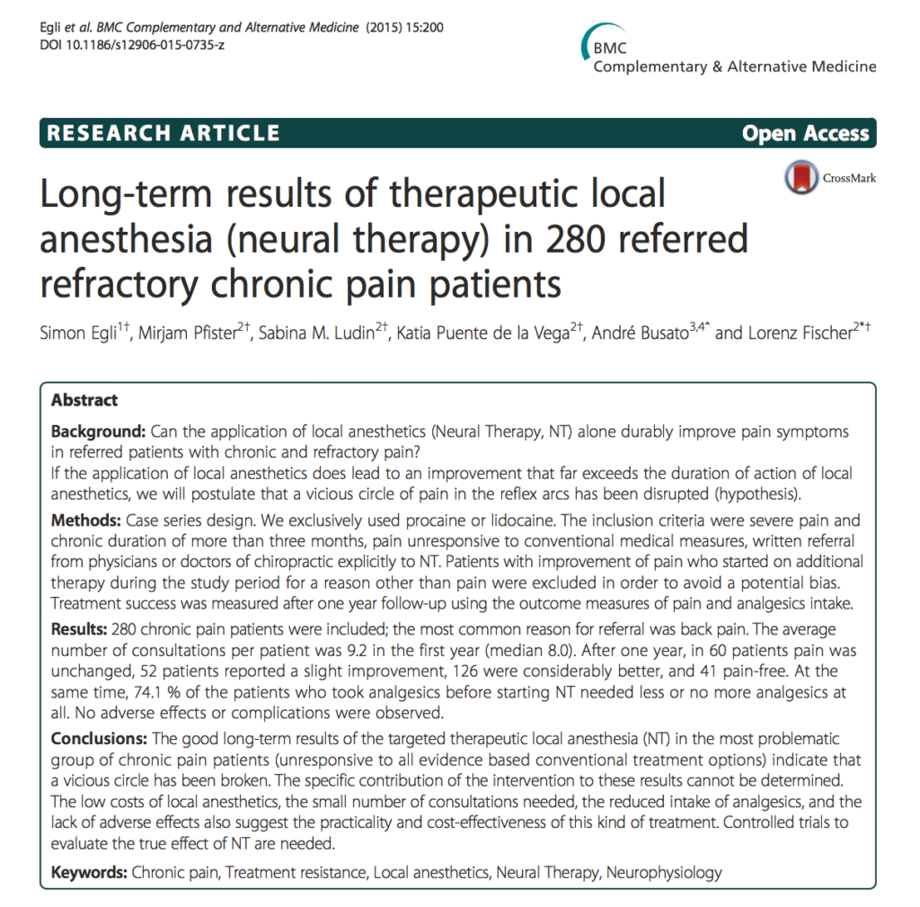 Long-term results of therapeutic local anesthesia