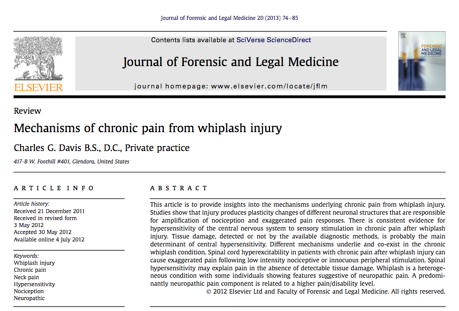 Mechanisms of chronic pain from whiplash injury