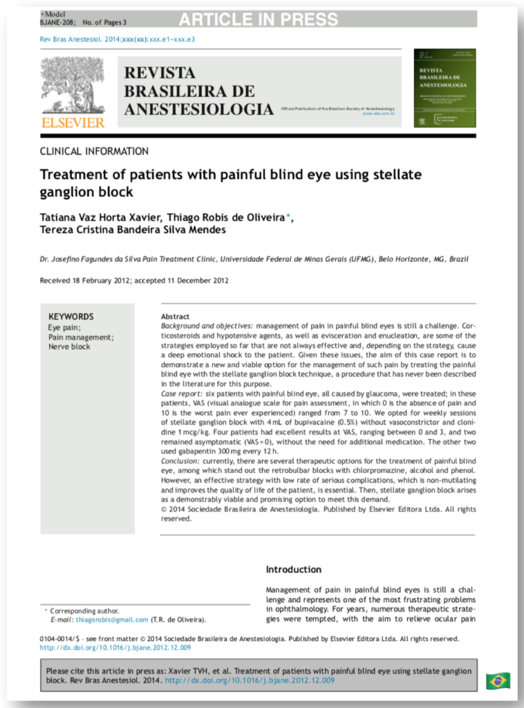Treatment of patients with painful blind eye using stellate ganglion block