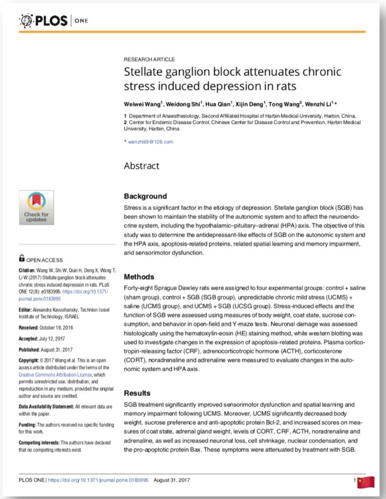 Stellate ganglion block attenuates chronic stress induced depression in rats