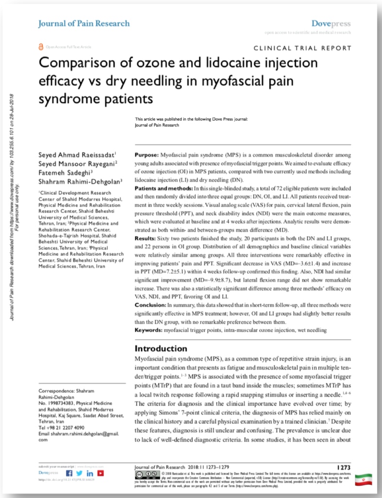 Comparison of ozone and lidocaine injection efficacy vs dry needling in myofascial pain syndrome patients