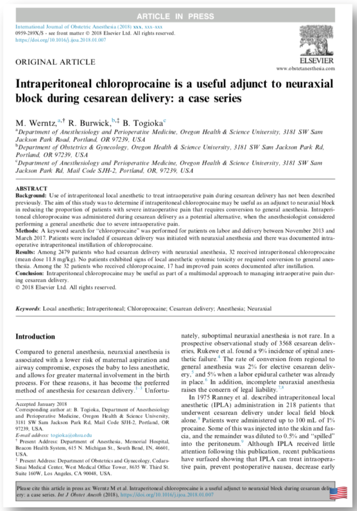 Intraperitoneal chloroprocaine is a useful adjunct to neuraxial block during cesarean delivery