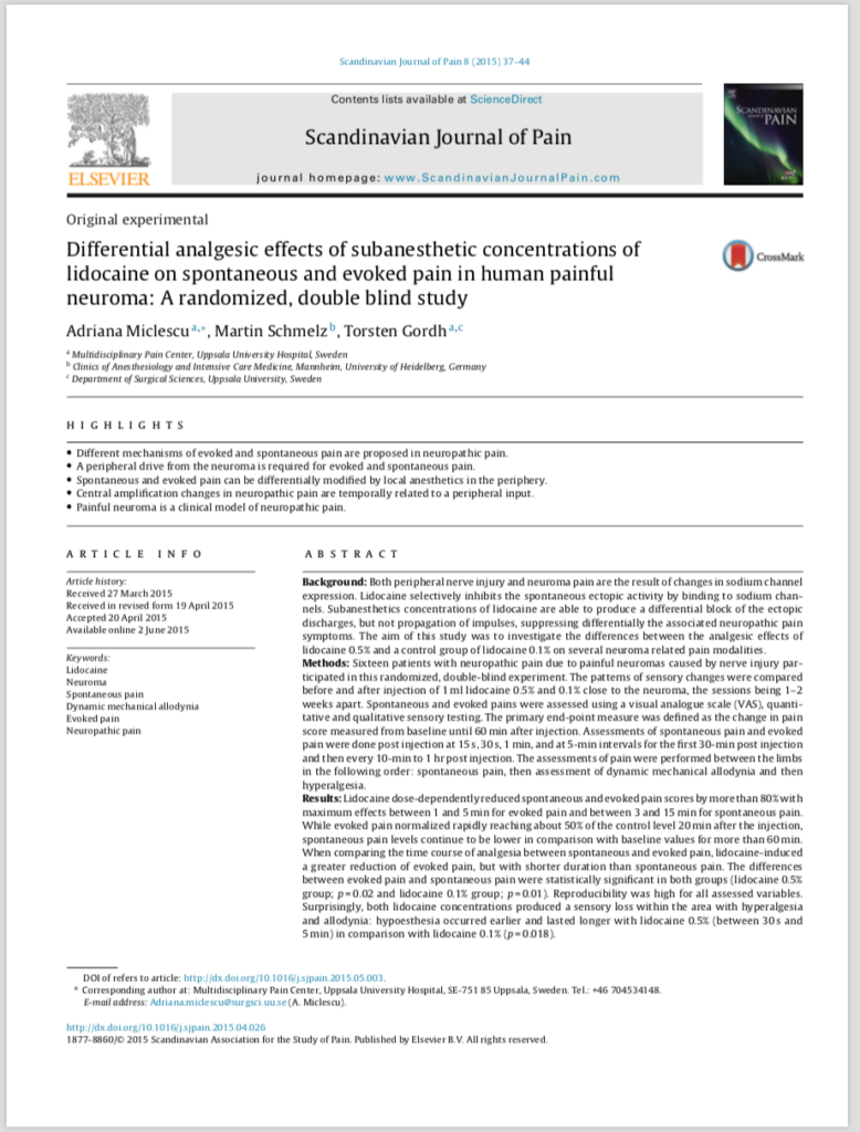 Differential analgesic effects of subanesthetic concentrations of lidocaine on spontaneous and evoked pain in human painful neuroma