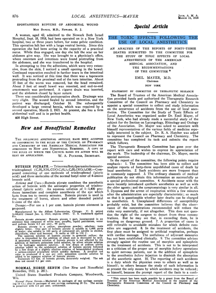 THE TOXIC EFFECTS FOLLOWING THE USE OF LOCAL ANESTHETICS mayer 1924